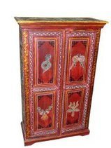 Home Decorative Red Painted Snake Charmer Rare Wooden Armoire Cabinet Chest From India | Mogul Interior | Vintage Style Decor With Antique Furniture | Scoop.it