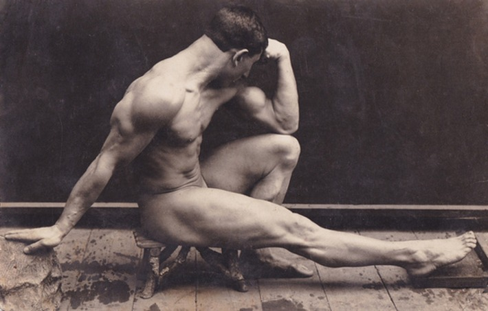 """Classic Vintage Nude """"Thinking Man"""" Pose 