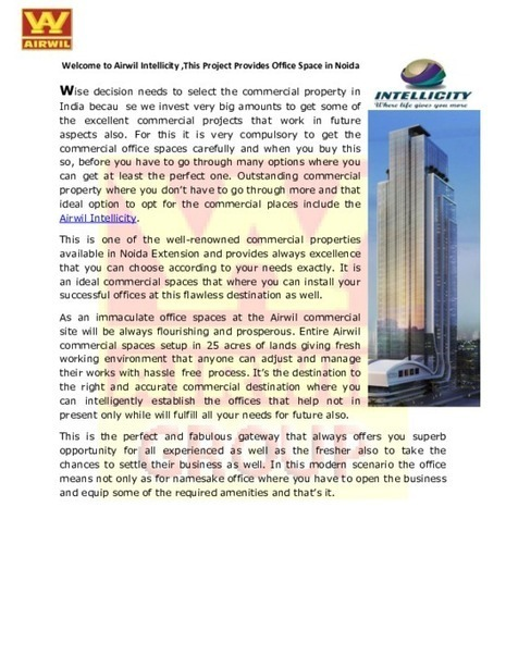 Buy Commercial Property in Noida at Airwil Intellicity Business Park-@9266789000 - PDF | Property in Noida | Scoop.it