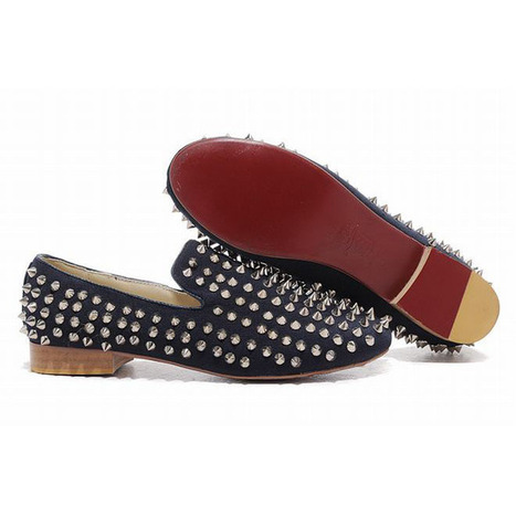 Red Bottom Christian Louboutin Rollerball Spikes Mens Flat Shoes Navy Denim | my love list | Scoop.it