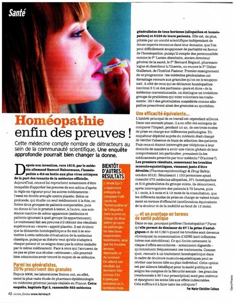 L'homéopathie, enfin des preuves ! version Fémina | Marché de la phytothérapie | Scoop.it