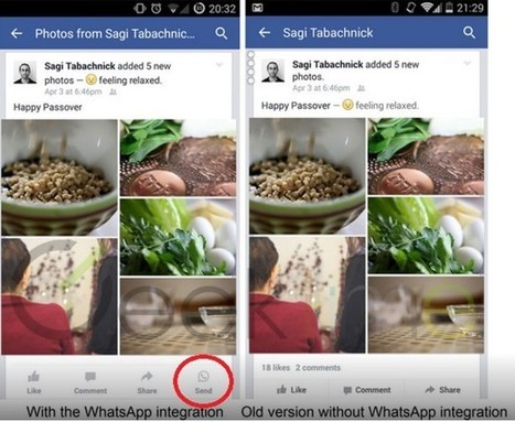 Facebook commence l'intégration de WhatsApp sur son application mobile | Actualité des médias sociaux | Scoop.it