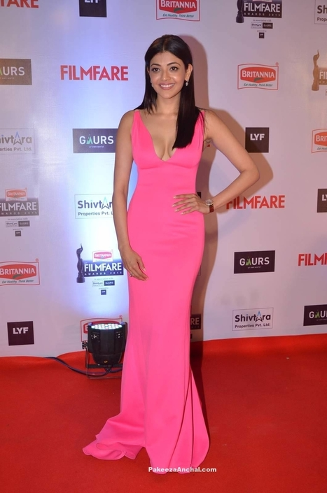 Kajal Agarwal wearing a deep neck Long Trail Gown at FilmFare 2016 | Indian Fashion Updates | Scoop.it