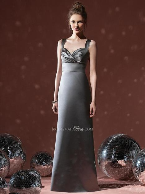 Grey Floor Length Satin Sweetheart Neck Bridesmaid Formal Gown with Wide Straps | Evening Dress | Scoop.it