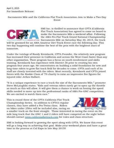 CFTA ANNOUNCEMENT:  Gear up....gear way up cuz CFTA riders will be racing the Sa... | California Flat Track Association (CFTA) | Scoop.it