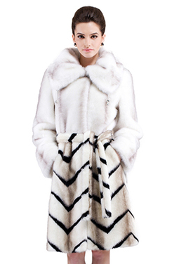 Faux white mink fur with black and brown gray strips long fur coat | Comfortable faux fur coat fashion | Scoop.it