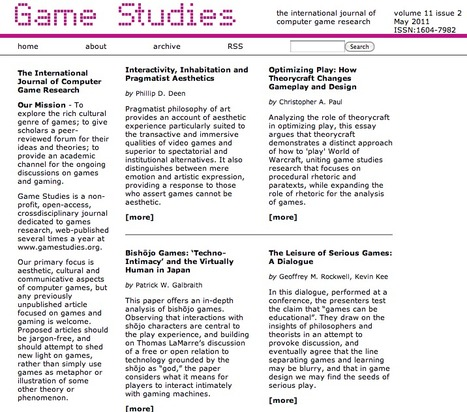 Game Studies - Issue 1102, 2011 | Digital Delights - Avatars, Virtual Worlds, Gamification | Scoop.it