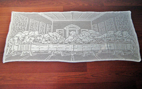 """""""The Last Supper"""" Filet Crochet Tablecloth , Wall Decor, Home Decor 