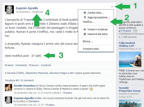 Facebook ha reso modificabili i post pubblicati | Promuovere il Tuo Hotel Su Internet | Scoop.it