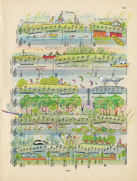 Colorful Everyday Scenes Illustrated on Vintage Sheet Music by 'People Too'   Amazing art!   Scoop.it