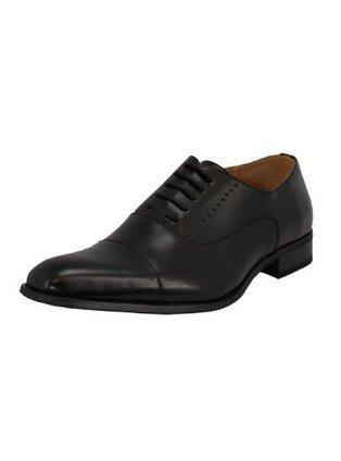 Mens Oxford Shoes Milano Faux Leather Dress Lace-Up Cap-toe TR6859-6 Black   Wedding Shoes   Scoop.it