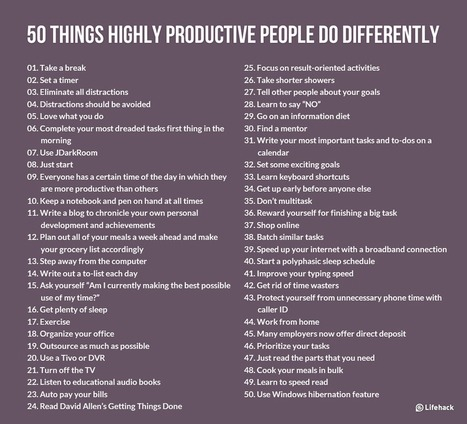 50 Things Highly Productive People Do Differently | Life @ Work | Scoop.it