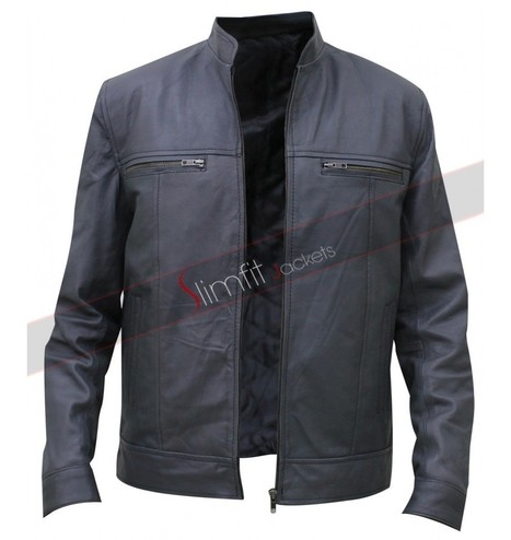 Men's Bomber Moto Grey Leather Jacket | Motorcycle Leather Jackets For Men and Women | Scoop.it
