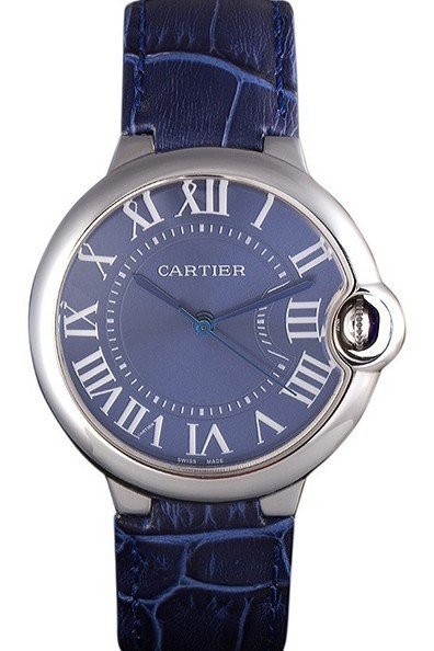 Replica Cartier Ballon Bleu Silver Bezel with Dark Blue Dial and Dark Blue Leather Band-$199.00 | Men's & Women's Replica Watches Collection Online | Scoop.it