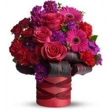 The ravishing bouquet includes hot pink roses, hot pink gerberas, red spray roses, purple sweet william, red carnations and purple stock accented with fresh greenery. The flowers are delivered in a... | Floral Happiness | Scoop.it