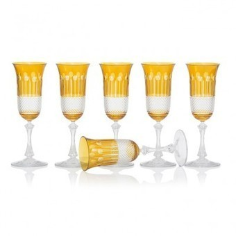 Amber Gold Champagne glasses, set of 6 | Coloured Crystal | Scoop.it