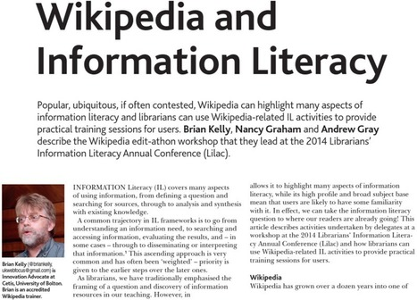 Wikipedia and Information Literacy Article in CILIP Update « UK ... | Education & Libraries | Scoop.it