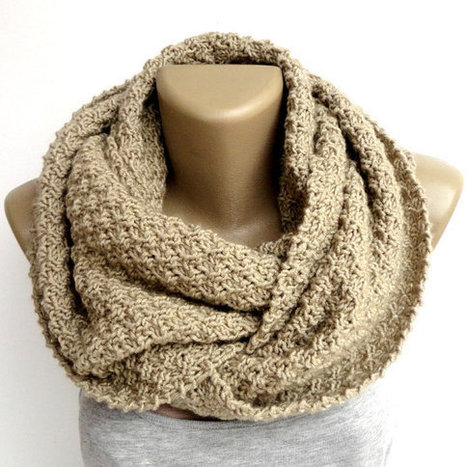 camel infinity scarf ,unisex men women - eternity scarves ,chunky - cowl - knitted ,beige ,circle scarf , wholesale scarves | scarf | Scoop.it