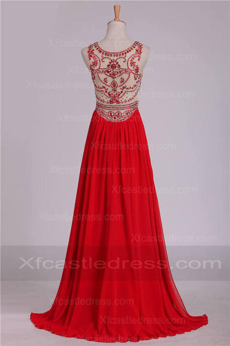 2016 Beaded Chiffon High Neck Long Red Prom Dresses LOXF162 | women fashion dresses | Scoop.it