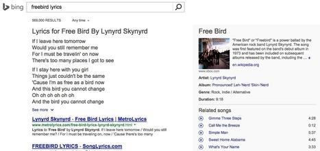 Bing propose des paroles de chanson dans ses résultats de recherche - Actualité Abondance | Référencement sur les moteurs de recherche (SEO) : Google, Yahoo, Bing... | Scoop.it