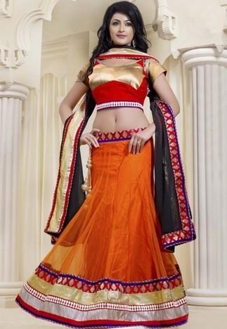 Orange Net Semi stitch LenghaLehenga with Choli And Dupatta LRT457 - Lehenga | Desi Butik | Online Sarees shopping Store in India | Scoop.it