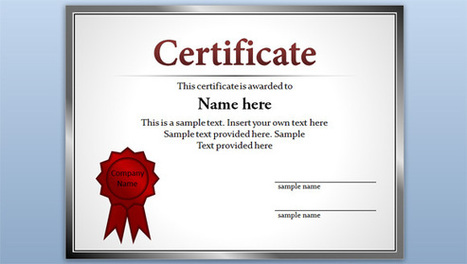 Free Certificate Template for PowerPoint 2010 & 2013   PowerPoint Presentation   Certificate   Scoop.it