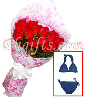 Roses bouquet with bikini with drawstrings deliver on summer day - Roses and Swimwear#009 | MOTHER'S DAY GIFT IDEAS | Scoop.it