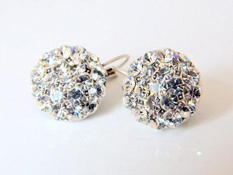art deco clear crystal swarovski rhinestone tibetan silver plated earrings   Wedding Ideas   Scoop.it