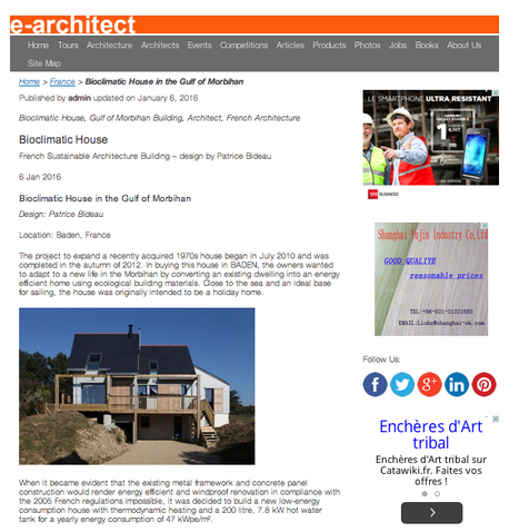"""""""Bioclimatic House in the Gulf of Morbihan"""" - e-architect 