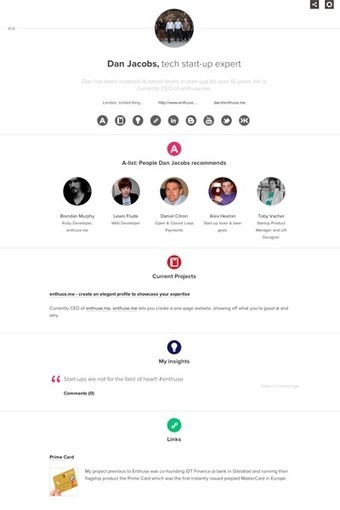 enthuse.me - Create an elegant profile to showcase your expertise | Digital & Mobile Marketing Toolkit | Scoop.it