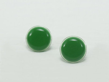Green Stud Earrings 18mm - Green Earrings - Green Circle Stud - Apple Green Earrings - Hypoallergenic Surgical Steel Post - Gift Ideas | Jewelry & Accessories | Scoop.it