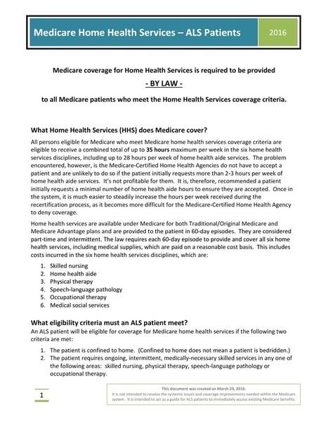 How to navigate Medicare Home Health Services for ALS Patients.pdf | #ALS AWARENESS #LouGehrigsDisease #PARKINSONS | Scoop.it