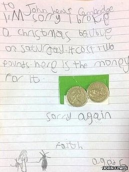 Girl writes broken bauble apology | The Global Village | Scoop.it