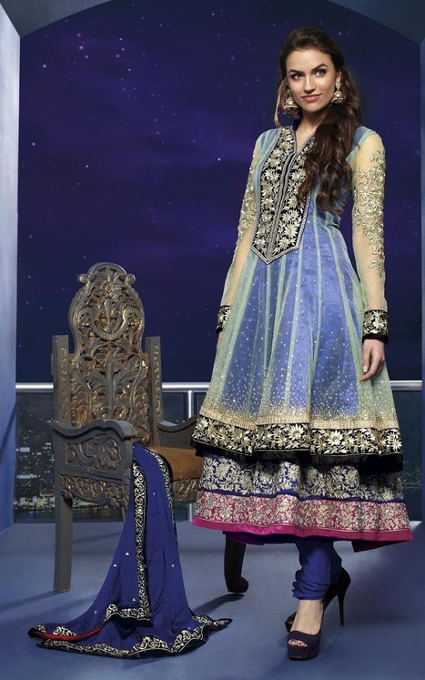 Gravity Fashion - Charming Pale Aloe Vera Green & Pale Navy Blue Salwar Kameez | If loving Fashion is a Crime, We Plead Guilty | Scoop.it