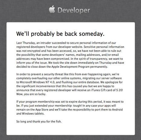 Apple Developer Portal still down | Digital Tablet Publishing | Scoop.it