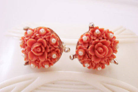 Coro Carved Coral Celluloid Pearl Earrings / Designer Signed / Screw Back / Vintage Jewelry / Jewellery | Vintage and Antique Jewelry & Fashion | Scoop.it
