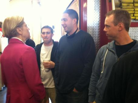photo: Worcester fire fighters greet Elizabeth Warren | Massachusetts Senate Race 2012 | Scoop.it