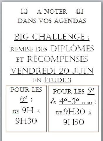 Remise des prix du Big Challenge | Derniers articles du site! | Scoop.it