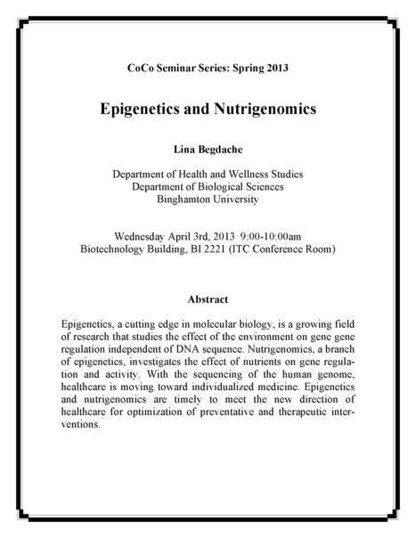 """Next CoCo Seminar on Wed April 3rd: """"Epigenetics and Nutrigenomics"""" by Lina Begdache 