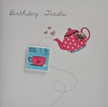 Birthday treats handmade card teapot handmade greeting cards see on scoop buy birthday cards for women men bookmarktalkfo Gallery