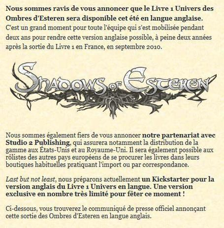 Agate RPG, éditeur de jeux: Press Release: The Translation of Shadows of Esteren is Coming out this Summer | Jeux de Rôle | Scoop.it