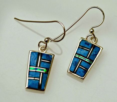 * TURQUOISE BLUE OPAL & ONYX INLAY STERLING SILVER EARRINGS | serendipity treasures | Scoop.it