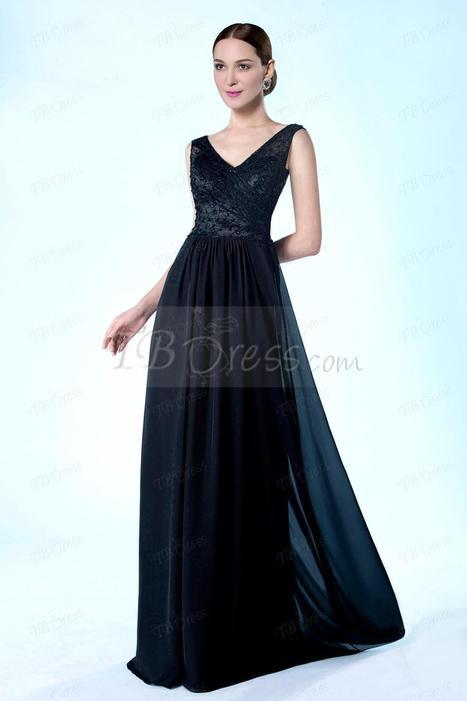 High Quality V-Neckline Beading Floor Length A-Line Mother of the Bride Dress | skirt | Scoop.it
