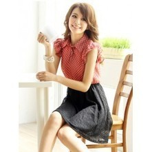Lace Skirt Dress with Polka Top | Japanese Fashion | Scoop.it