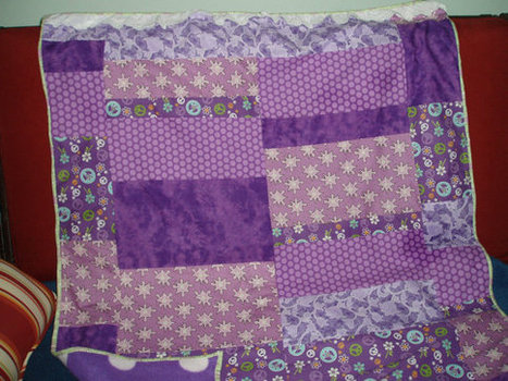 "Delightfully Feminine Purple Baby Quilt ""Peaceful Dreaming"" Keepsake 
