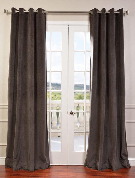 Signature Gunmetal Grey Grommet Blackout Velvet Curtain | window curtains | Scoop.it
