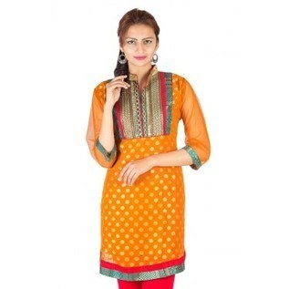 Orange Georgette Kurti With Brocade Butti ! Buy Kurtis Online | Nice one | Scoop.it