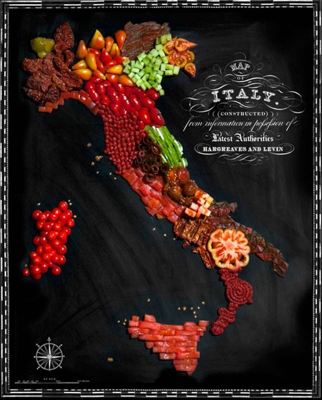 Italy Delicious maps made out of food | Italia Mia | Scoop.it