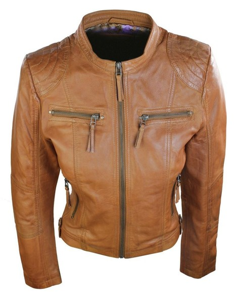 Ladies Real Leather Jacket Short Fitted Brown Tan Retro Chinese Collar | Womens Clothing | Scoop.it