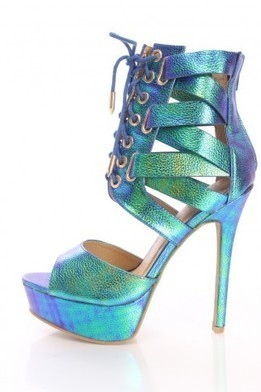 Blue Strappy Platform Booties Faux Leather   The Season's Hottest Styles from Pink Basis   Scoop.it